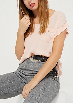 Pink Button-Down Back Blouse