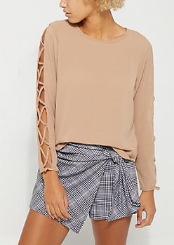 Taupe Caged Strap Detail Blouse