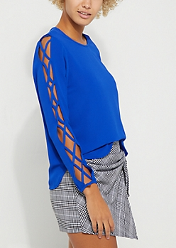 Blue Caged Strap Detail Blouse