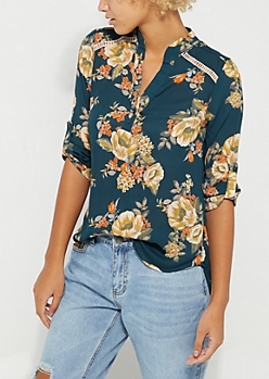 Navy Panel Detail Floral Blouse