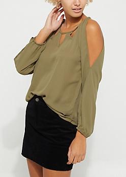 Cold Shoulder Cutout Long Sleeved Blouse