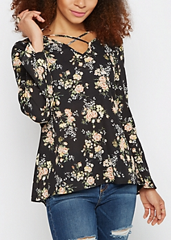Floral Caged Popover Blouse
