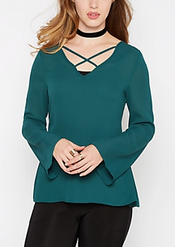 Teal Caged Chiffon Blouse