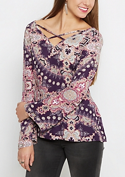 Medallion Caged Popover Blouse