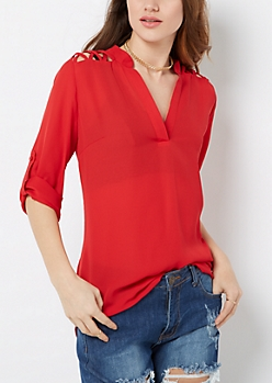 Red Lattice Shoulder Popover Blouse