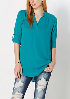 Teal Crepe Popover Top