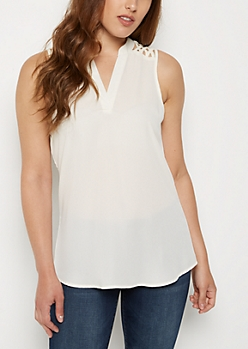 Ivory Strappy Shoulder Tank Top
