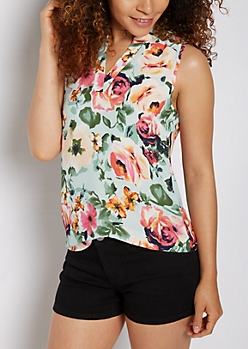Watercolor Floral Strappy Shoulder Tank Top
