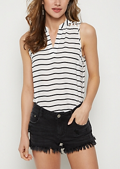 Striped Strappy Shoulder Tank Top