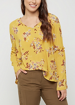 Mustard V-Neck Floral Bell Sleeve Top