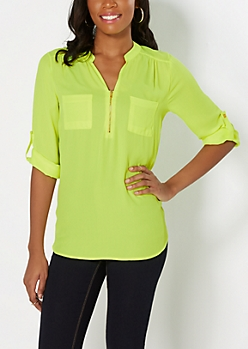 Neon Yellow Double Pocket Popover Top