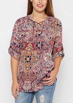 Floral Medallion Lace-Up Blouse