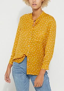 Mustard Leaf Print Button-Down Blouse