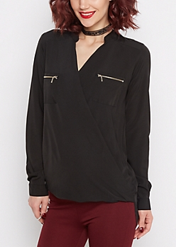 Black Surplice Chiffon Blouse