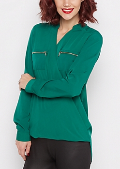 Emerald Surplice Chiffon Blouse