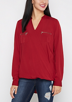 Burgundy Surplice Chiffon Blouse