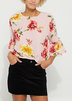 Floral Print Pink Tie-Back Blouse