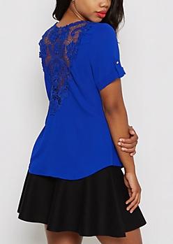 Royal Blue Crochet Back Shirt