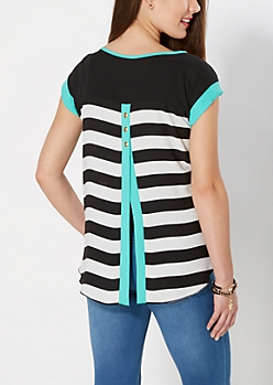 Seafoam Trim Striped Envelope Back Top