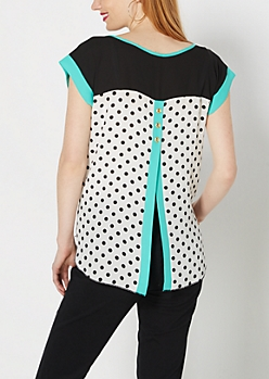Seafoam Trim Dotty Envelope Back Top