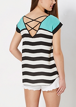 Seafoam Striped Dolman Top