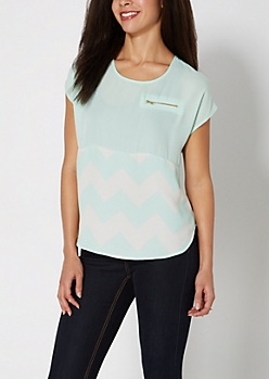 Mint Chevron Blocked Chiffon Blouse