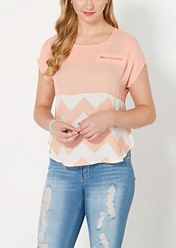 Peach Chevron Blocked Chiffon Blouse