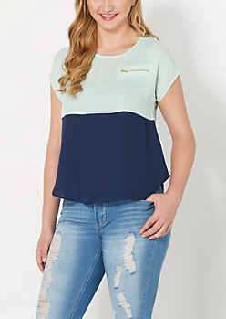 Green & Navy Blocked Chiffon Top