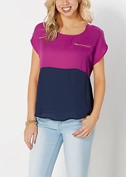 Fuchsia & Navy Blocked Chiffon Top