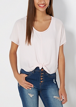 Pale Pink Tie-Front Chiffon Top