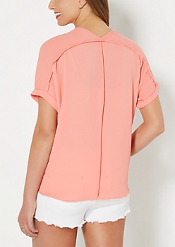 Pink Exposed Seam Crepe Blouse