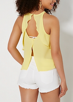 Yellow High Neck Flutter Tank Top