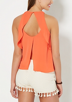 Coral High Neck Flutter Tank Top
