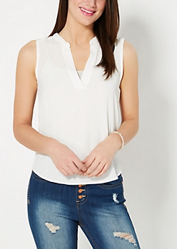 White Crepe Sleeveless Top