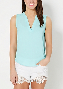 Light Turquoise Crepe Sleeveless Top