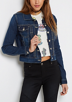 Piped Trim Jean Jacket