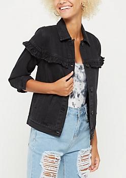 Black Ruffled Jean Jacket