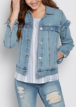 Vintage Ruffled Jean Jacket