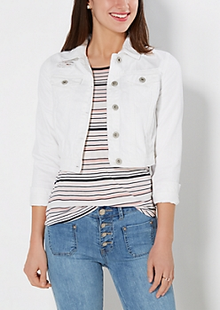 White Distressed Cropped Jean Jacket