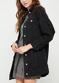 Black Destroyed Oversized Jean Jacket