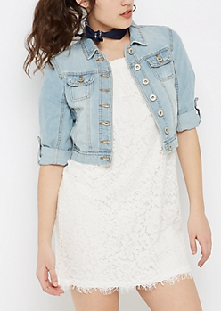 Light Blue Vintage Cuffed Jean Jacket