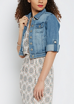 Medium Blue Vintage Cuffed Jean Jacket