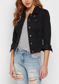 Destroyed Black Jean Jacket