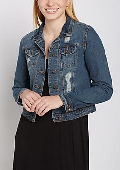 Destroyed Dark Blue Jean Jacket