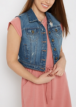 Light Blue Vintage Distressed Jean Vest