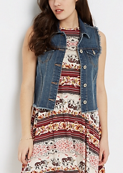 Dark Blue Frayed Sleeveless Jean Vest
