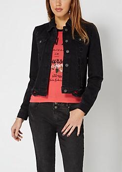Black Distressed Jean Jacket