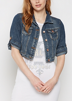 Vintage Washed Crop Jean Jacket