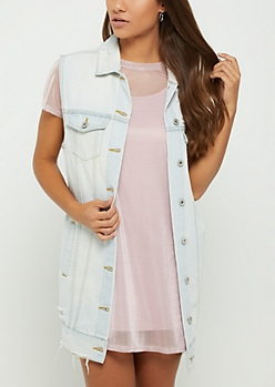 Light Blue Oversized Distressed Jean Vest