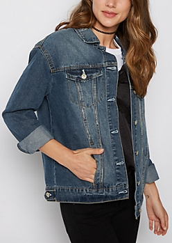 Dark Blue Distressed Boyfriend Jean Jacket